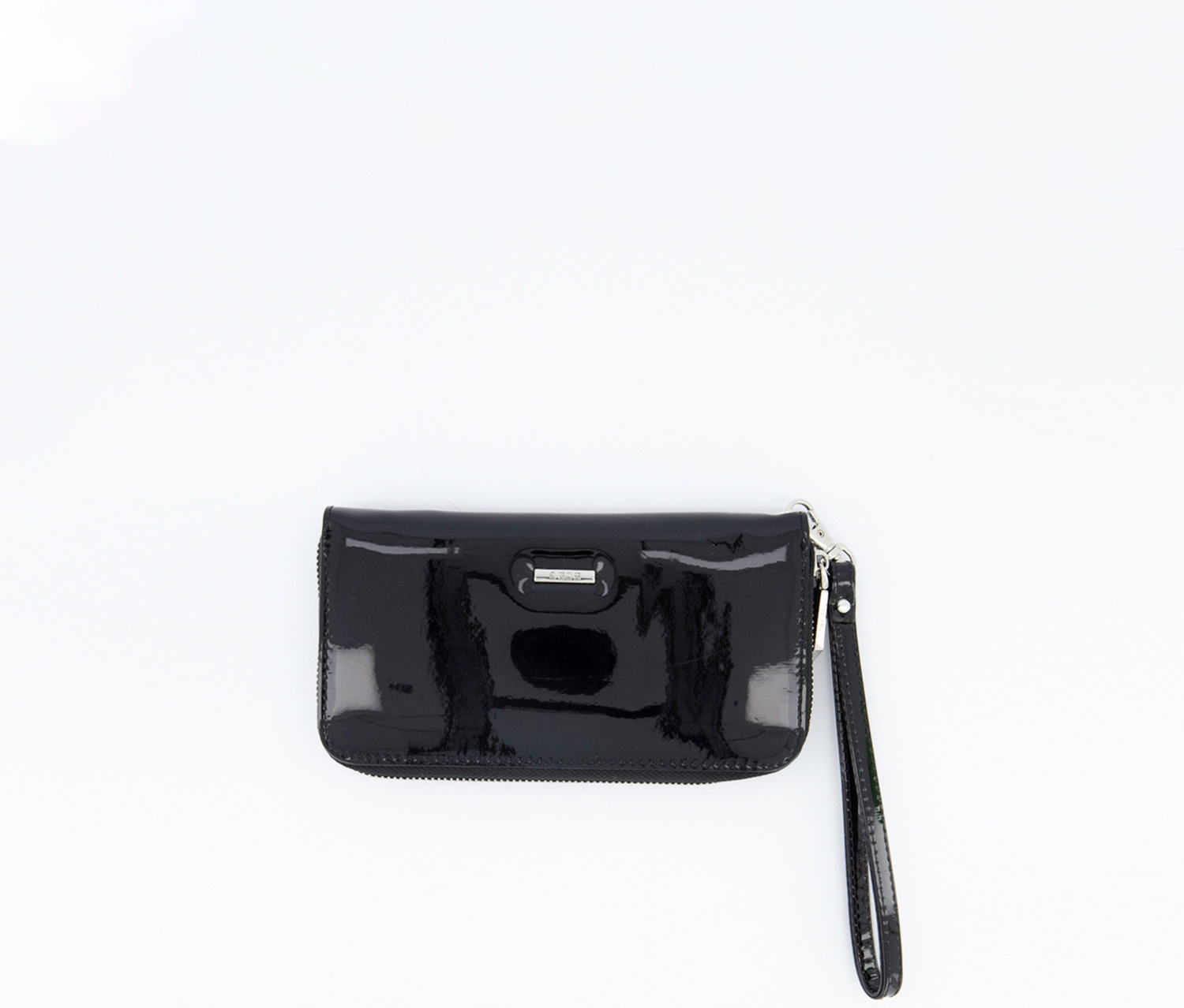 Allison Patent Zip Around Wallet, Black