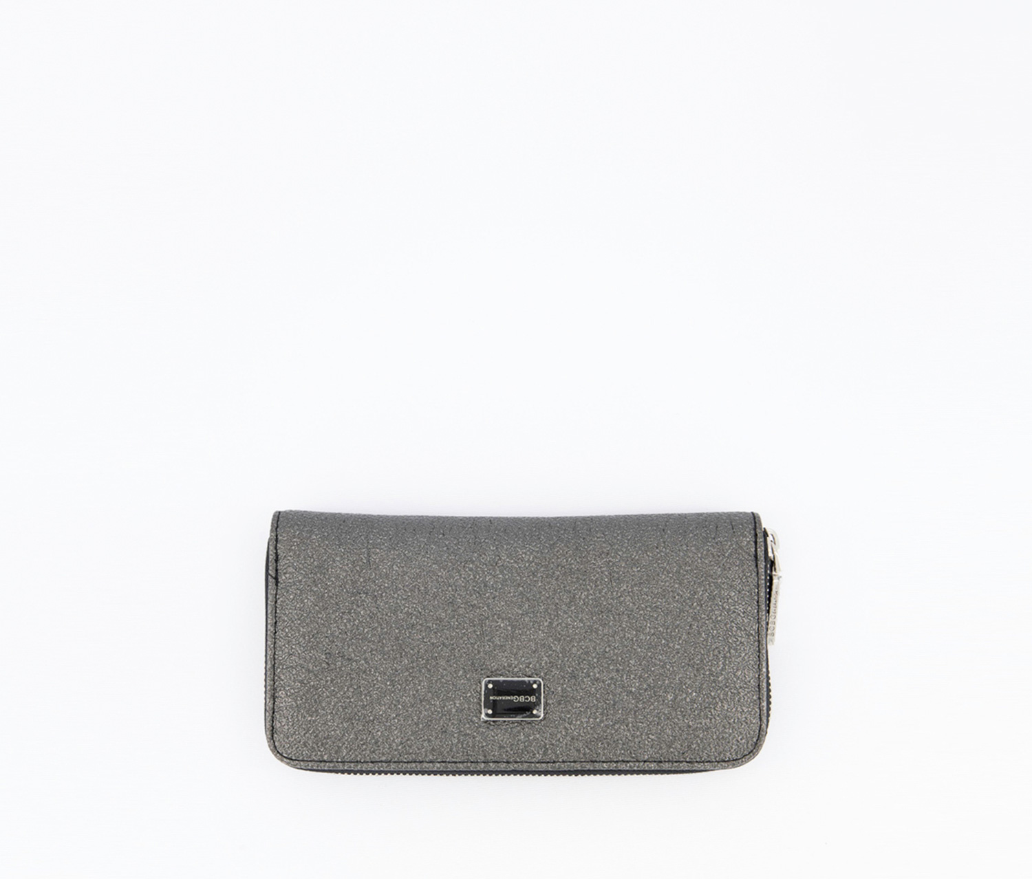 Allison Metallic Zip Around Wallet, Metallic Black