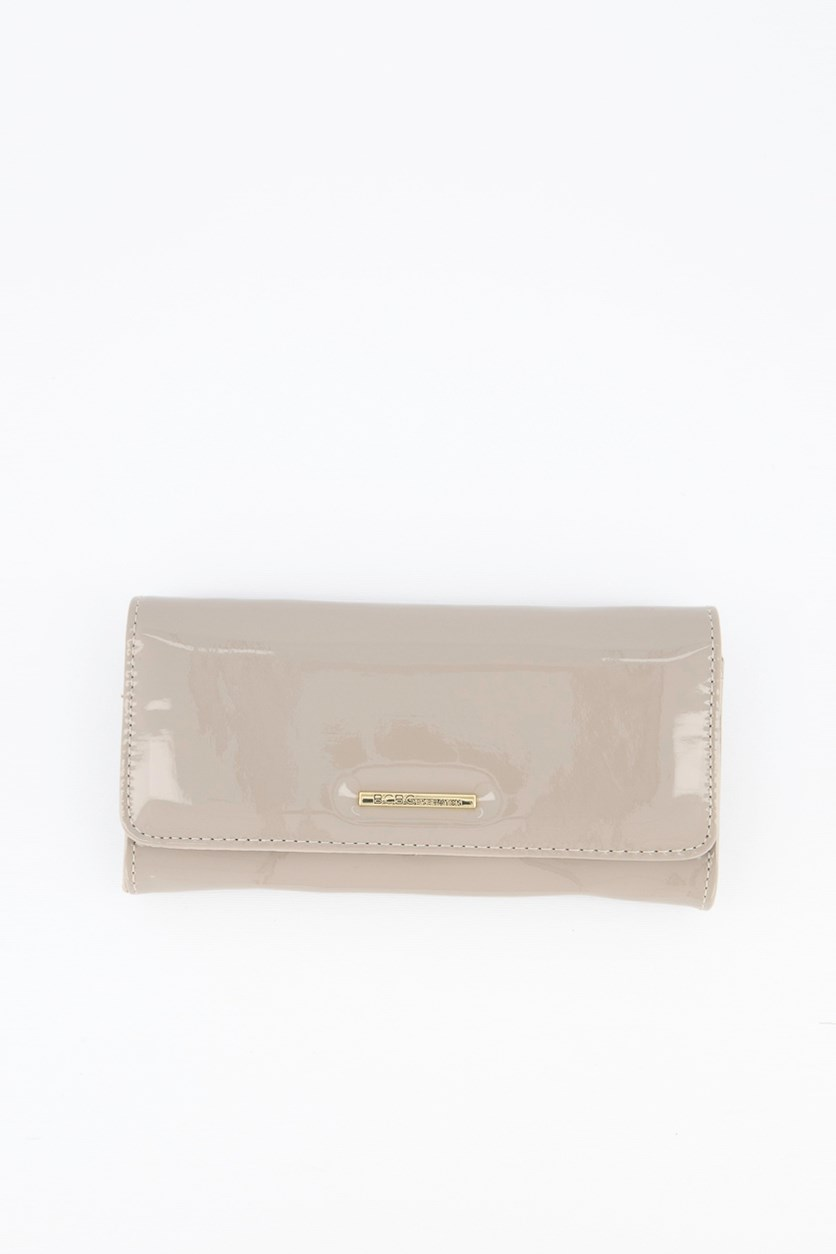 Anastacia Patent Flap Wallet, Taupe