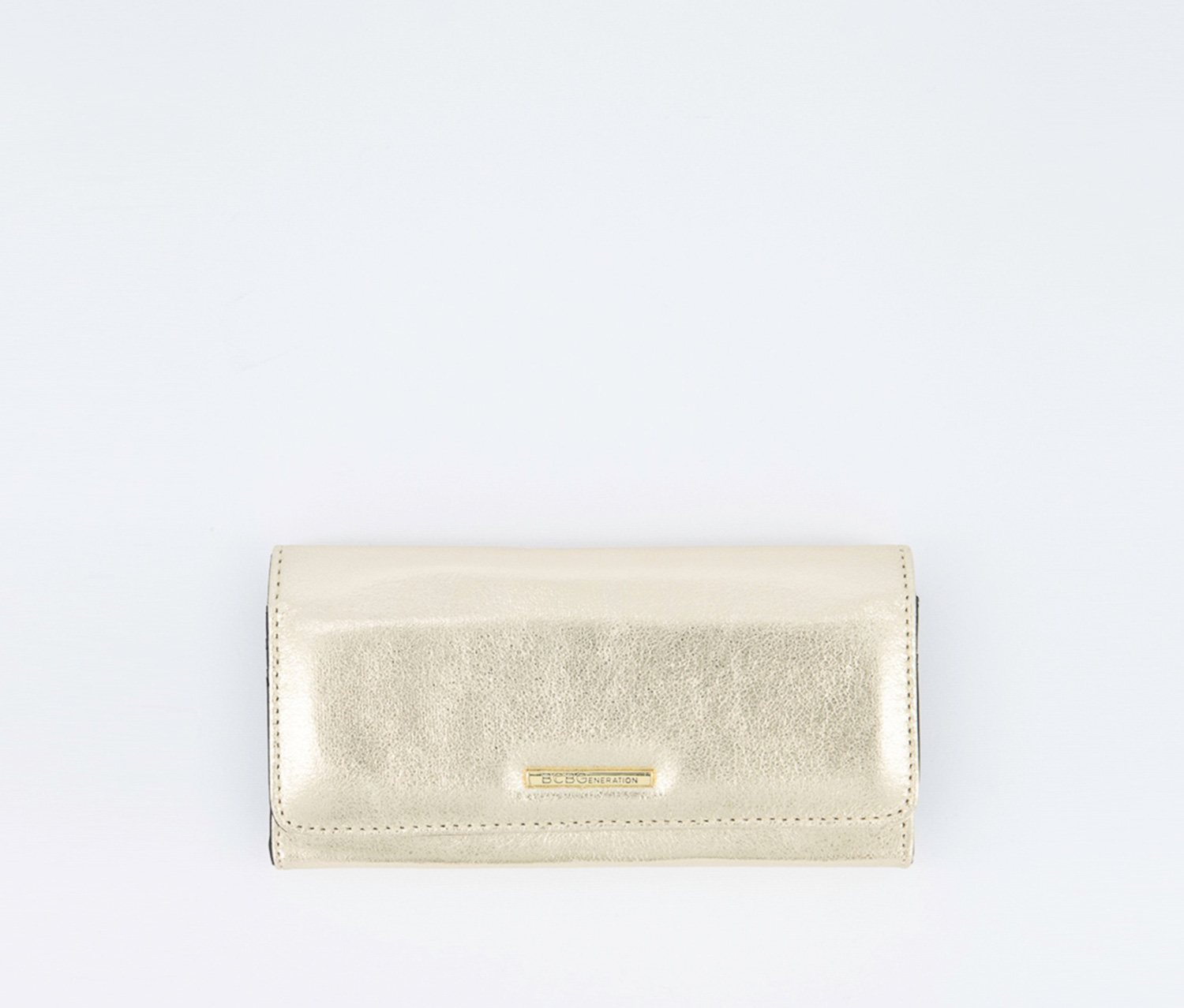 Anastacia Metallic Flap Wallet, Gold