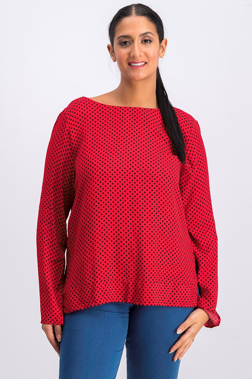 Women's Polka Dot Printed Blouse, Red