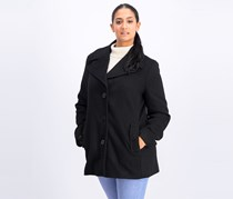 Calvin Klein Women's Single Breasted Wool Coat, Black