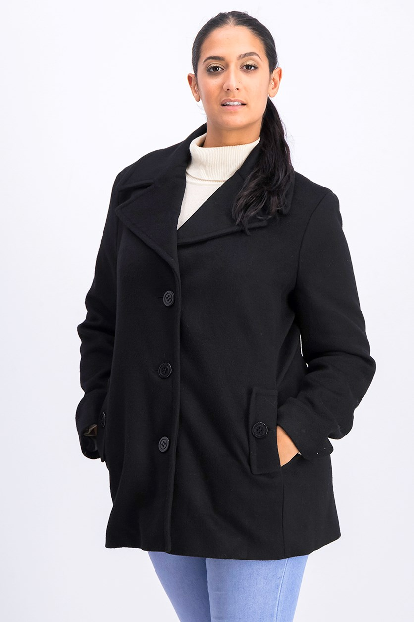 Women's Single Breasted Wool Coat, Black