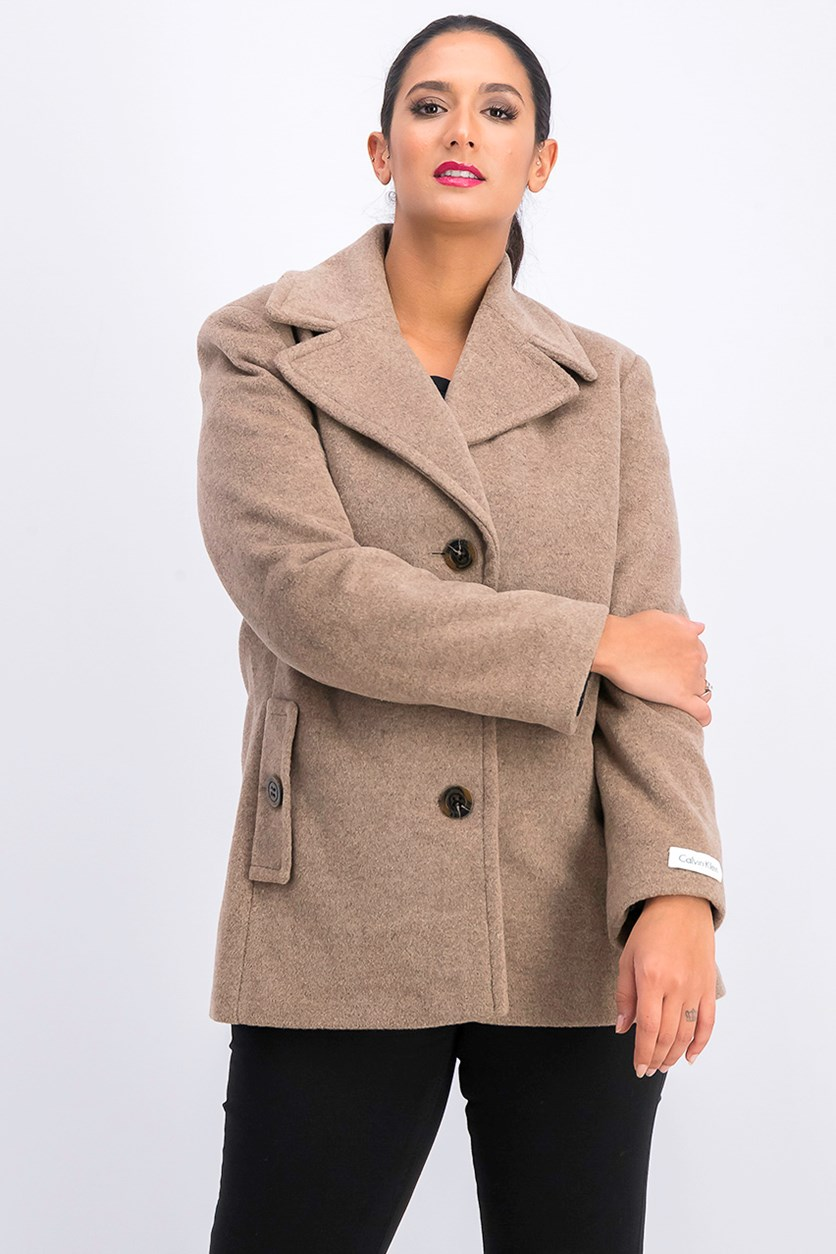 Women Single Breasted Wool Blend Peacoat, Oatmeal