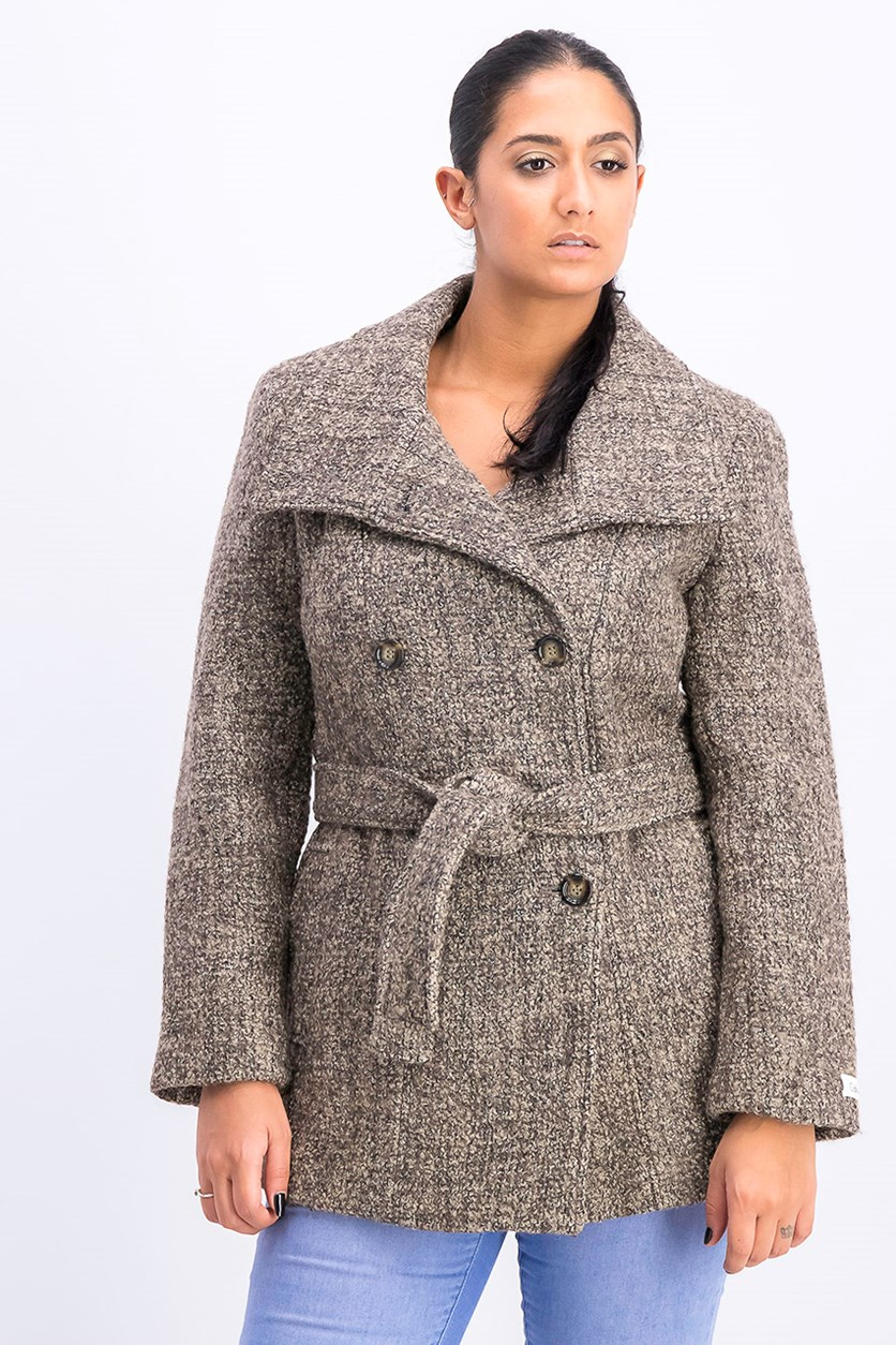 Women's Textured Outerwear, Brown Combo
