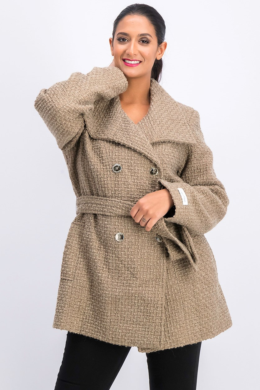 Women's Double Breasted Wool Coat with Belt, Truffle