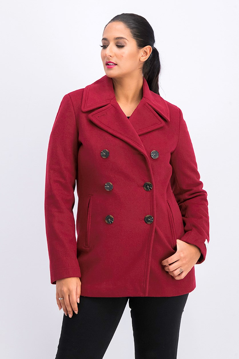 Double Breasted Peacoat, Red