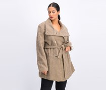 Calvin Klein Plus Size Double Breated Belted Coat, Oatmeal