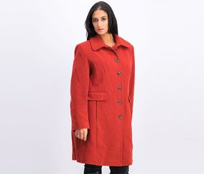 Calvin Klien Women's Mid Length Single Breasted Wool Coat, Rust