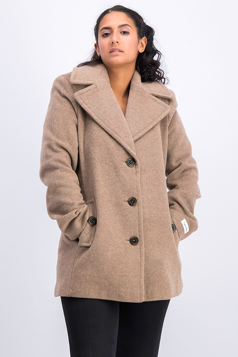 Women's Single Breasted Wool Coat, Oatmeal