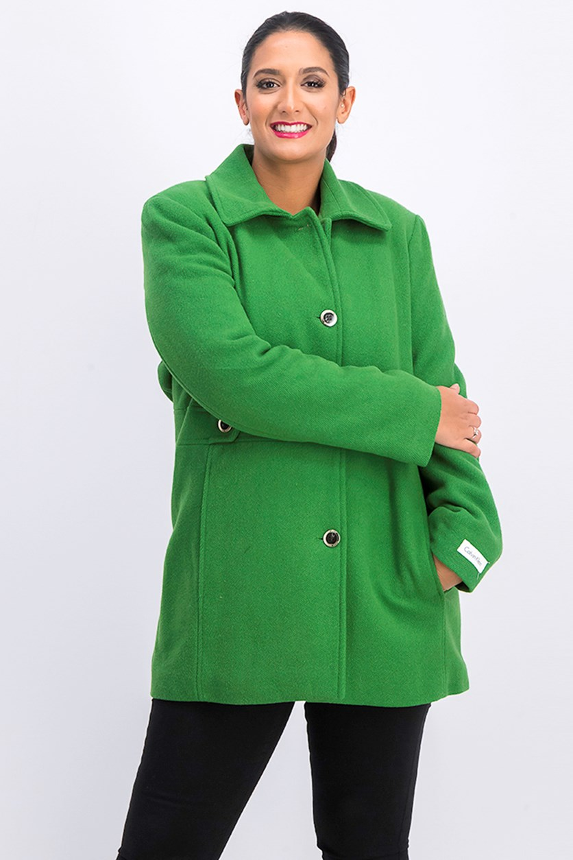 Women Single Breasted Button Walker Coat, Green