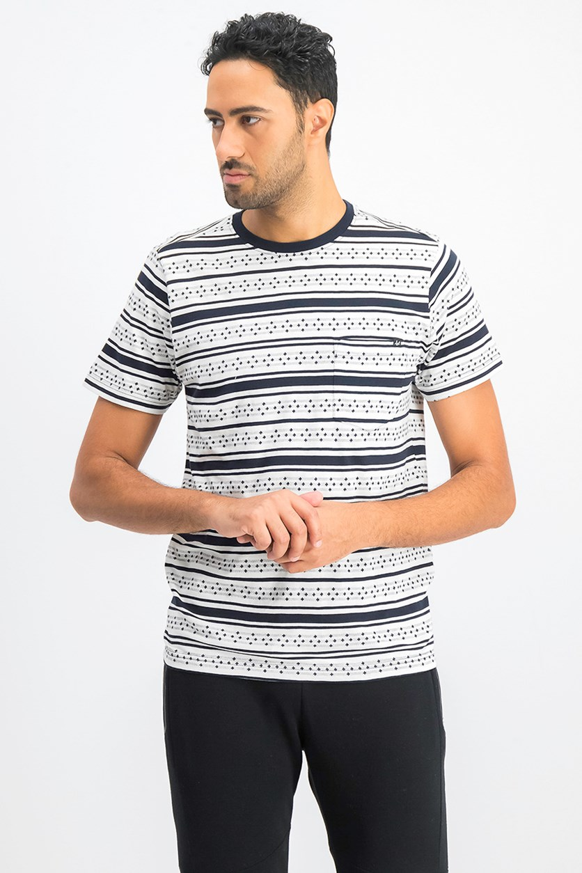 Men's Crew Neckline Printed Tee, White/Navy