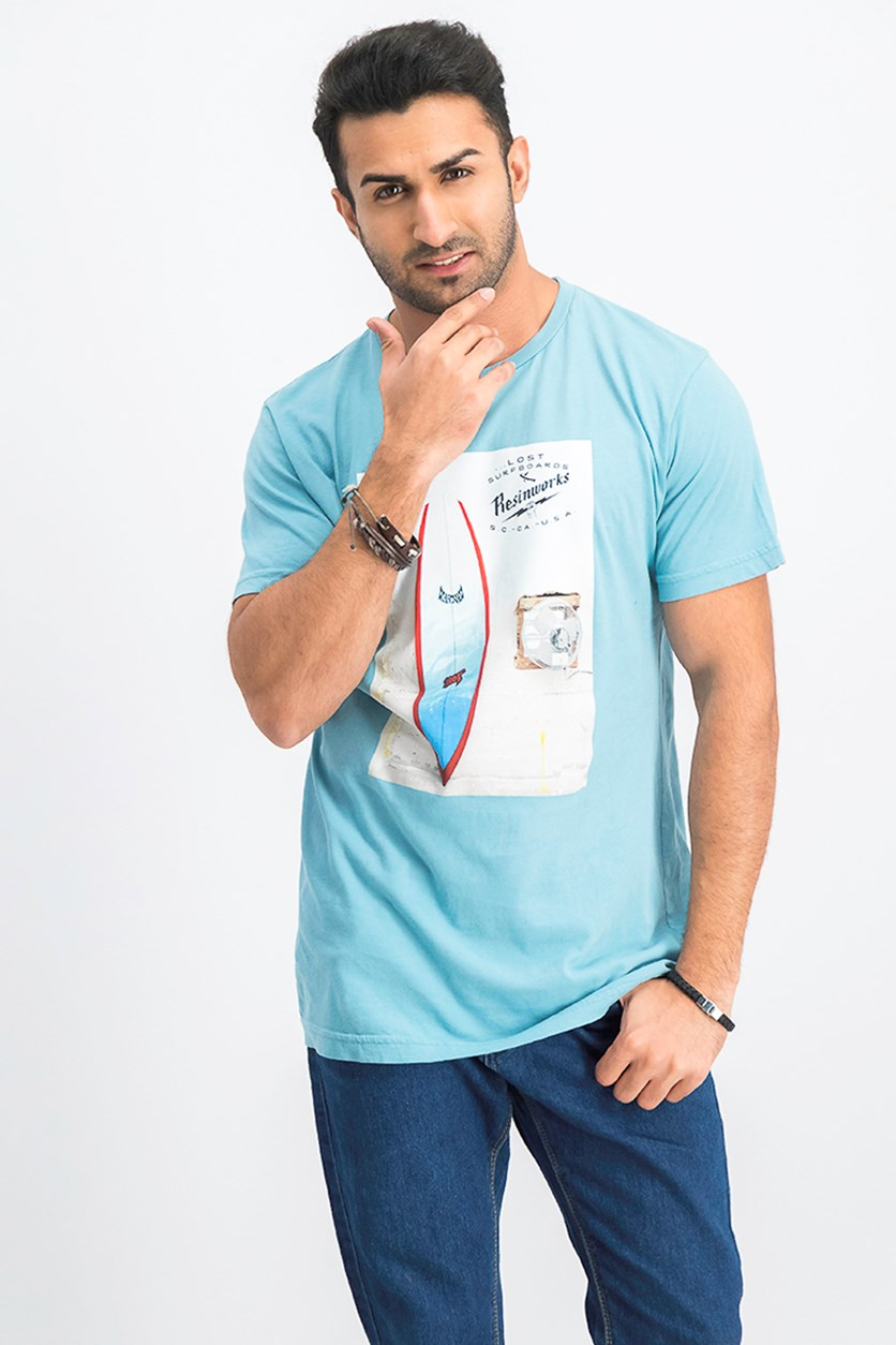 Men's Graphic Printed T-Shirt, Turquoise