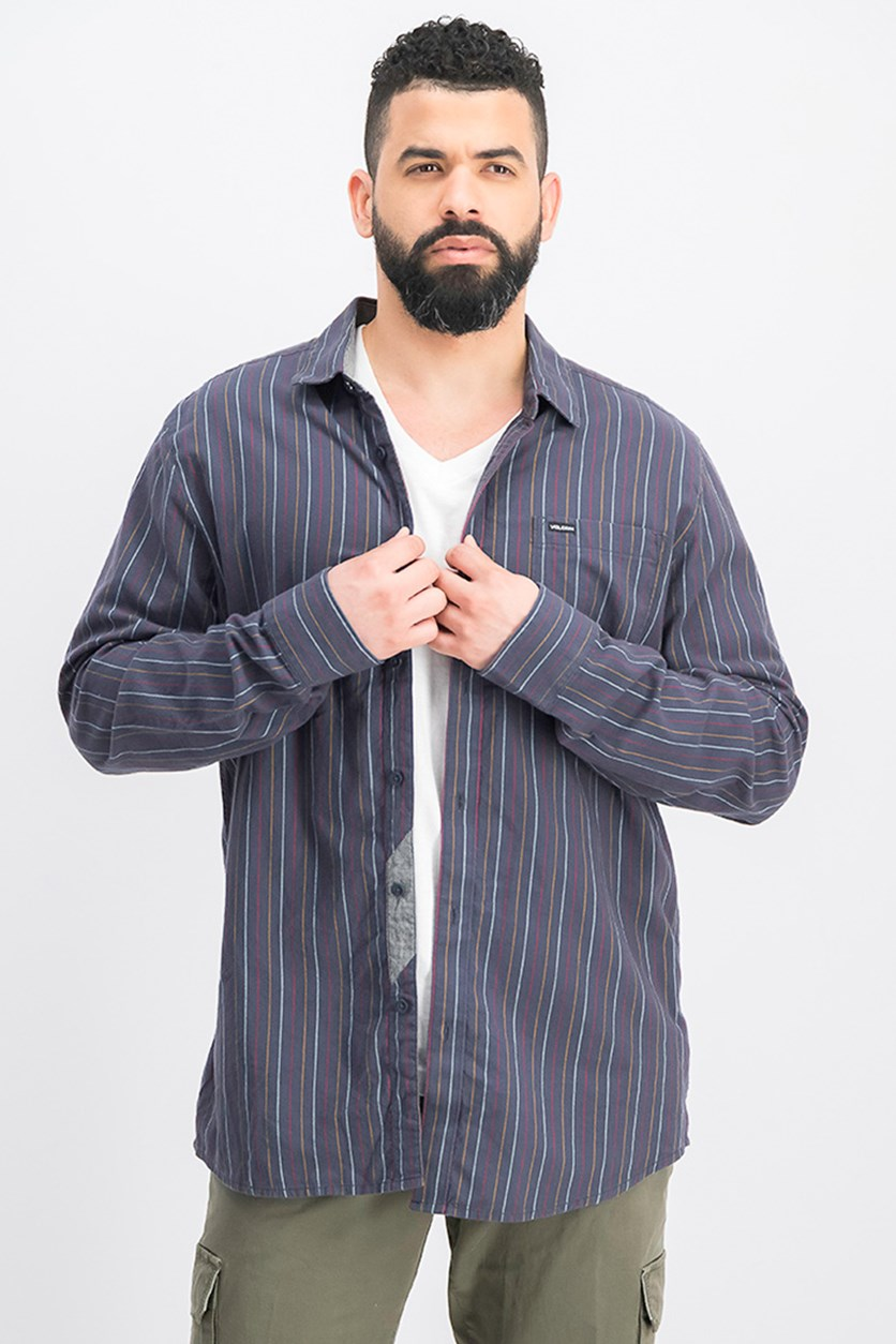 Men's Toner Stripe Pocket Shirt, Charcoal