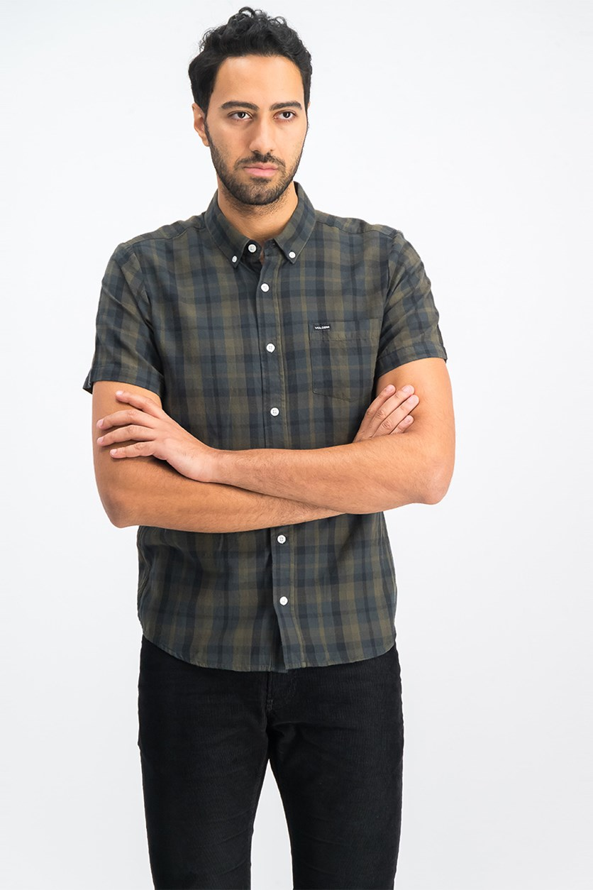 Men's Keiran Plaid Pocket Shirt, Olive/Black