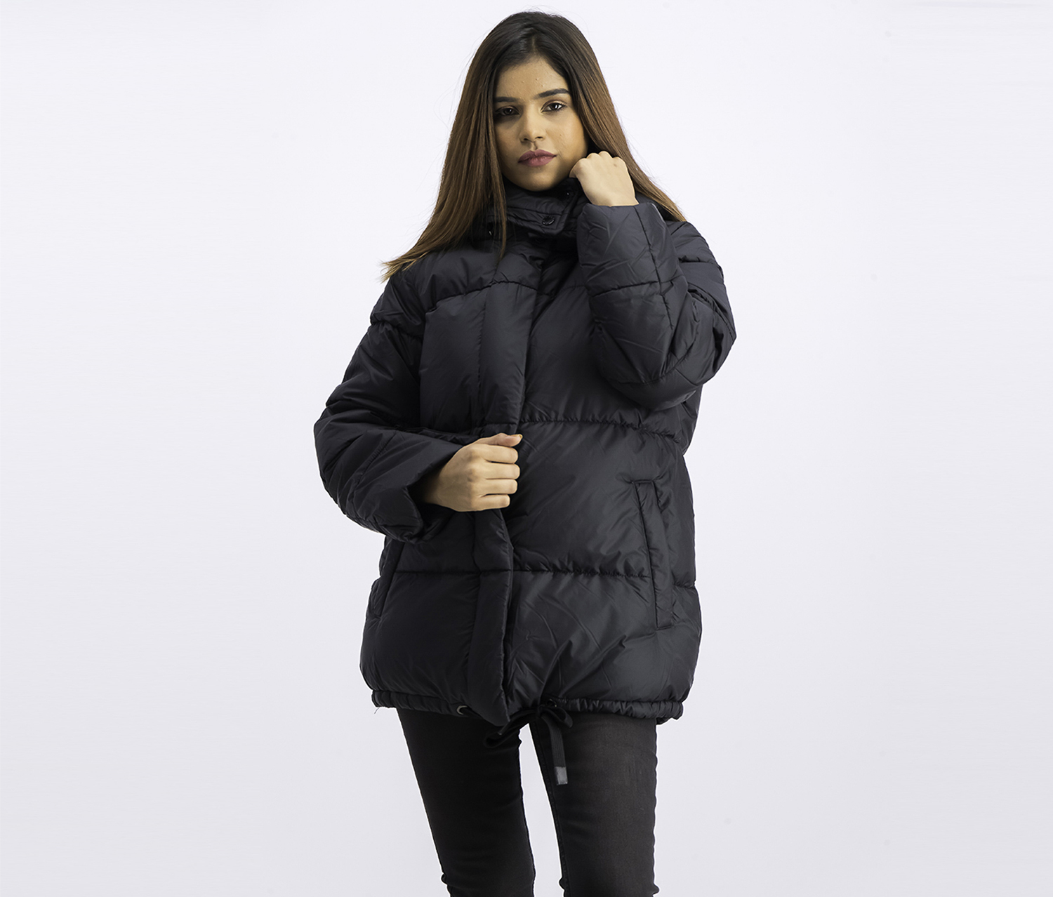 Women's Puffer With Sleeve Open Detail Jacket, Black