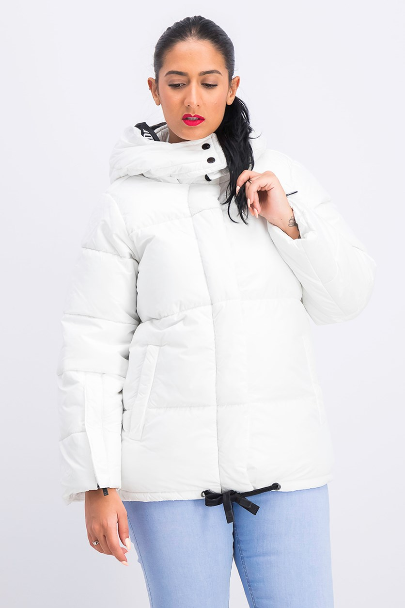 Women's Bubble Jacket With Sleeve Open Detail, White