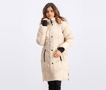 Women's  Mid Length Bubble With Sherpa Jacket, Beige