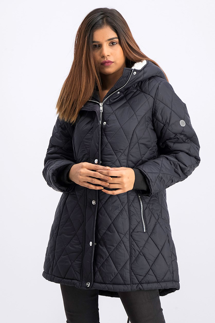 Women's Nylon Quilted Anorack Jacket, Black