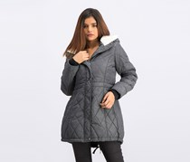 Steve Madden Women's Quilted Anorack Jacket, Grey Heather