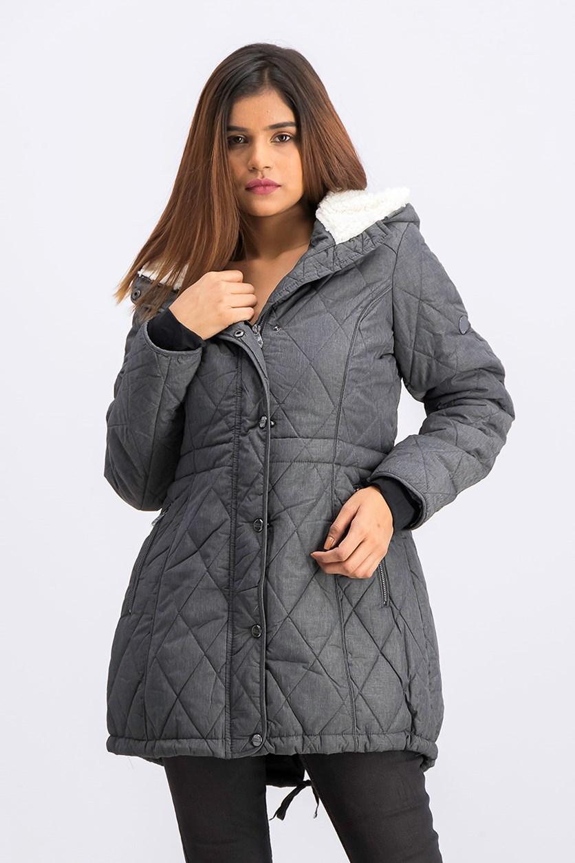 Women's Quilted Anorack Jacket, Grey Heather