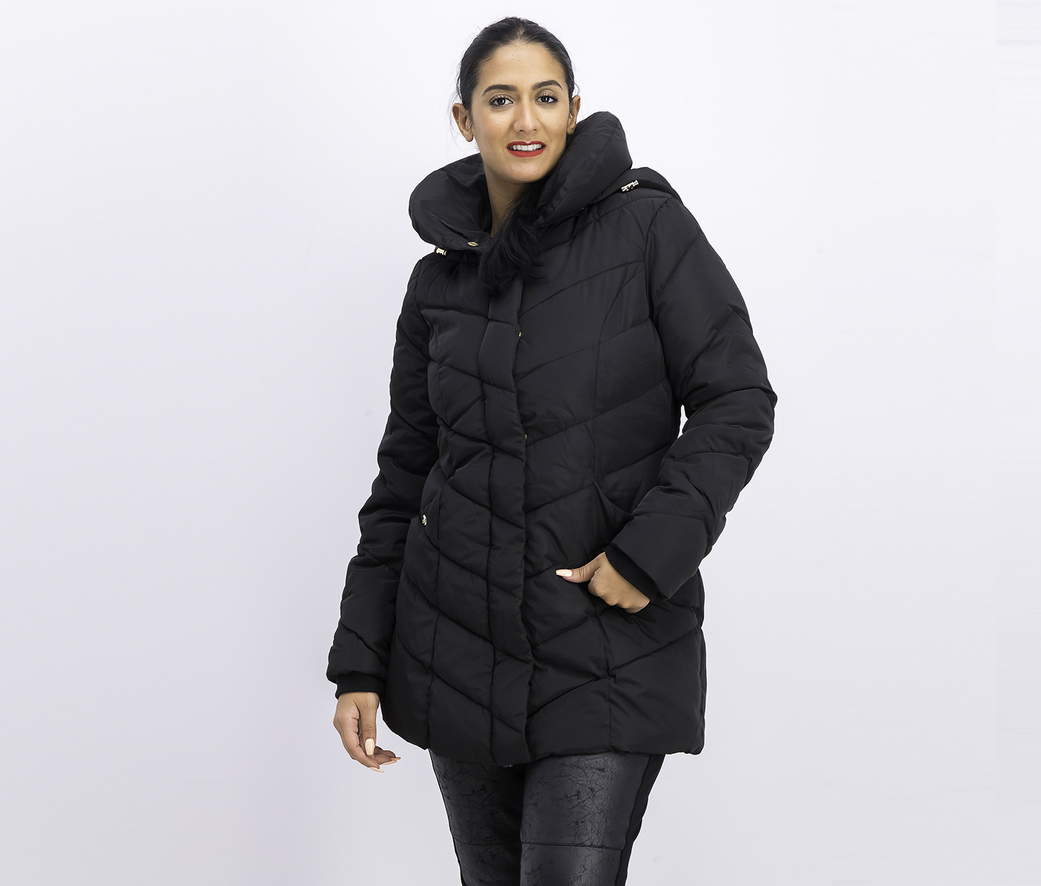 Women's Long Puffer Jacket, Black