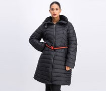 Women's Belted Puffer Coat, Black