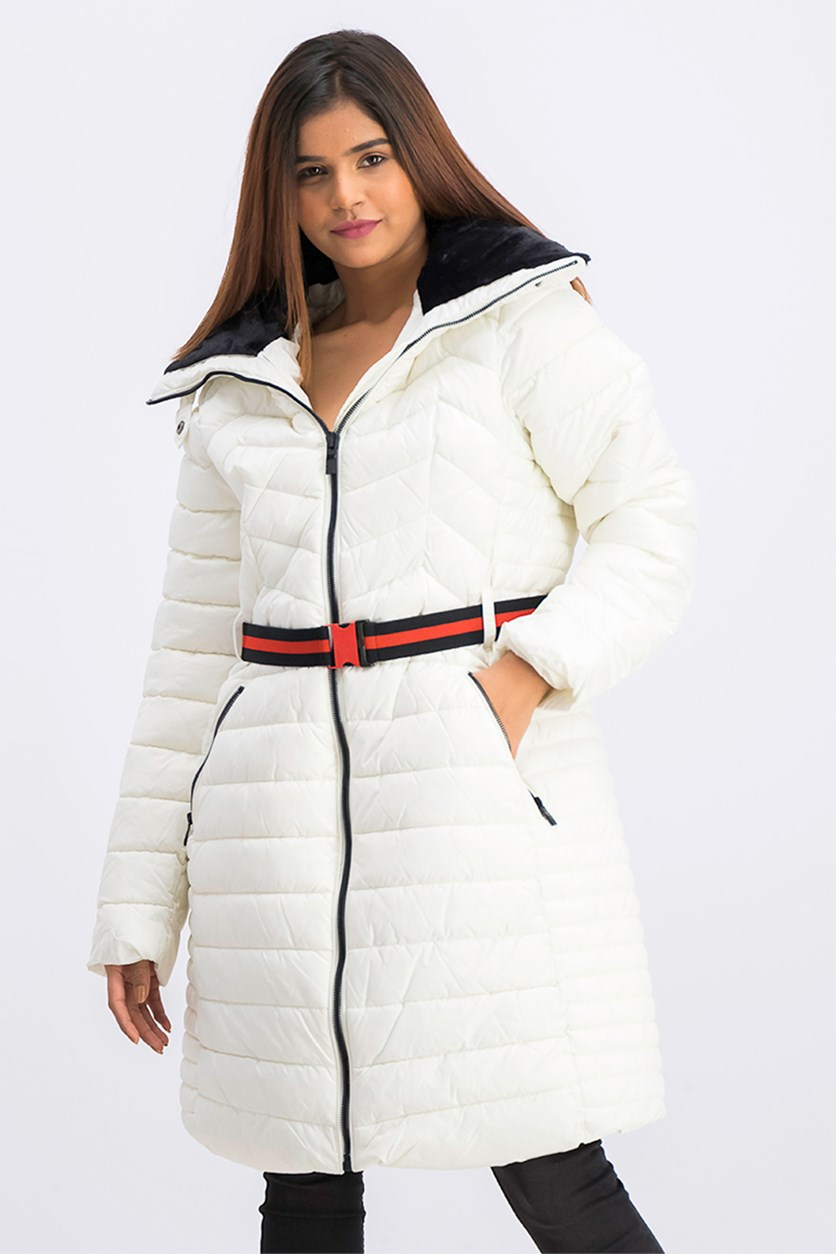 Women's Belted Puffer Coat, White
