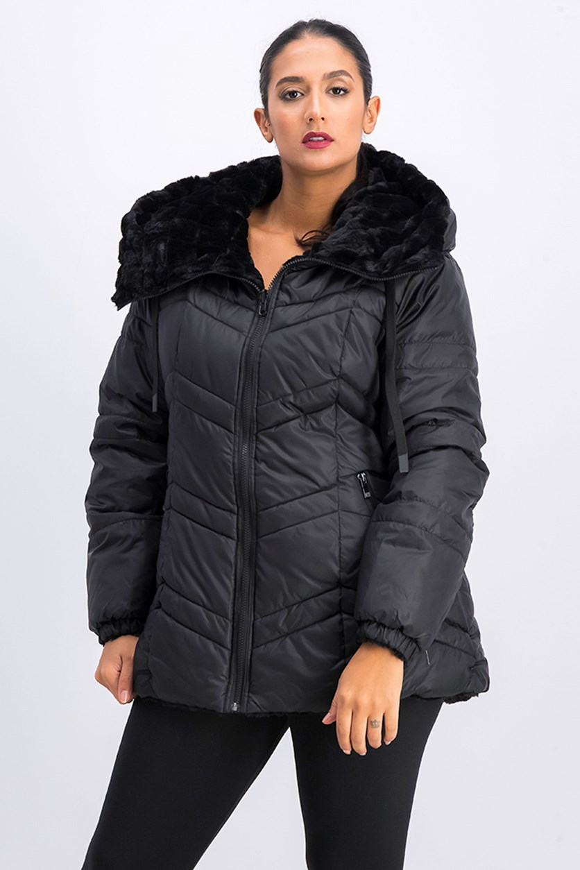 Women's  Quilted Anorak  Jacket, Black