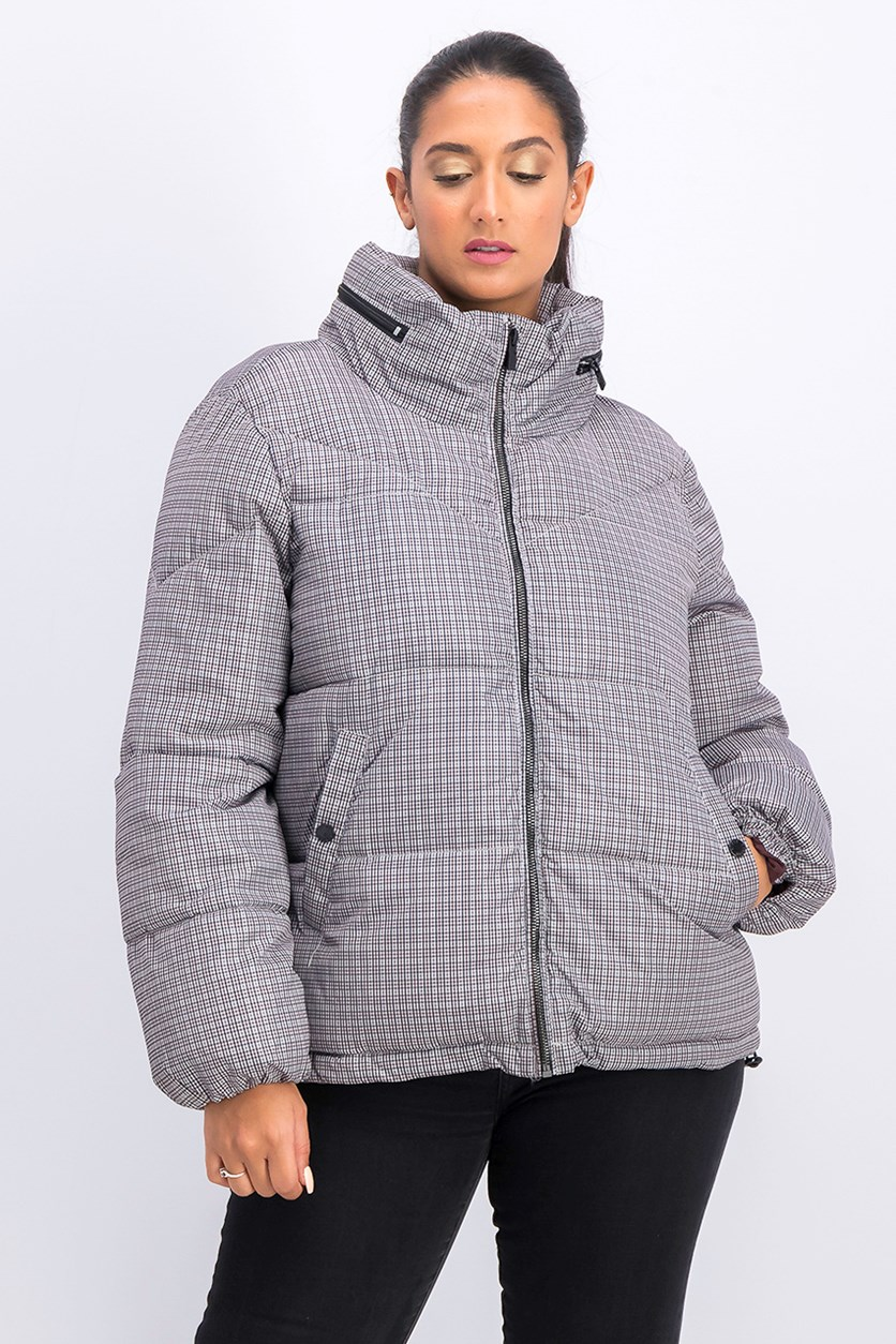 Women's Puffer Jacket, Grey Combo