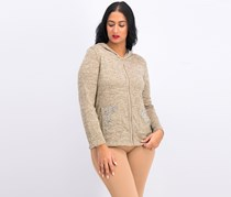 Women's Hooded Sweater, Heather Taupe