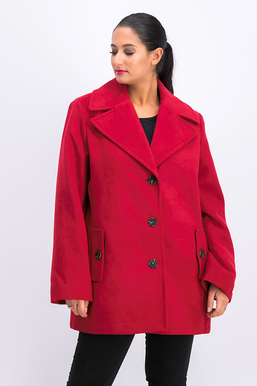 Women's Wide Collar Coat, Maroon