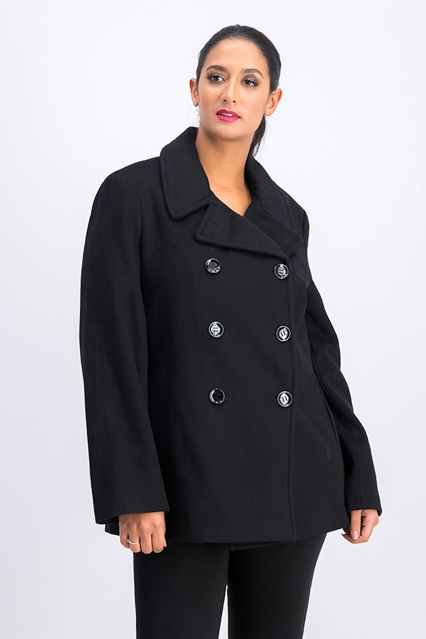 Women's Double Breasted Wool Coat, Black