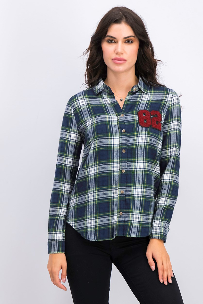Women's Navy Plaid Patch Long Sleeve Top, Green Combo