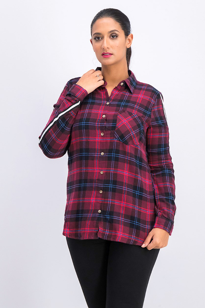 Polly & Esther Women's Long Sleeve Cotton Plaid Shirt, Red/Blue