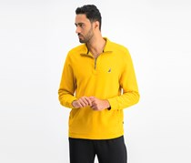 Nautica Mens Quarter-Zip Fleece Sweater, Yellow Gold