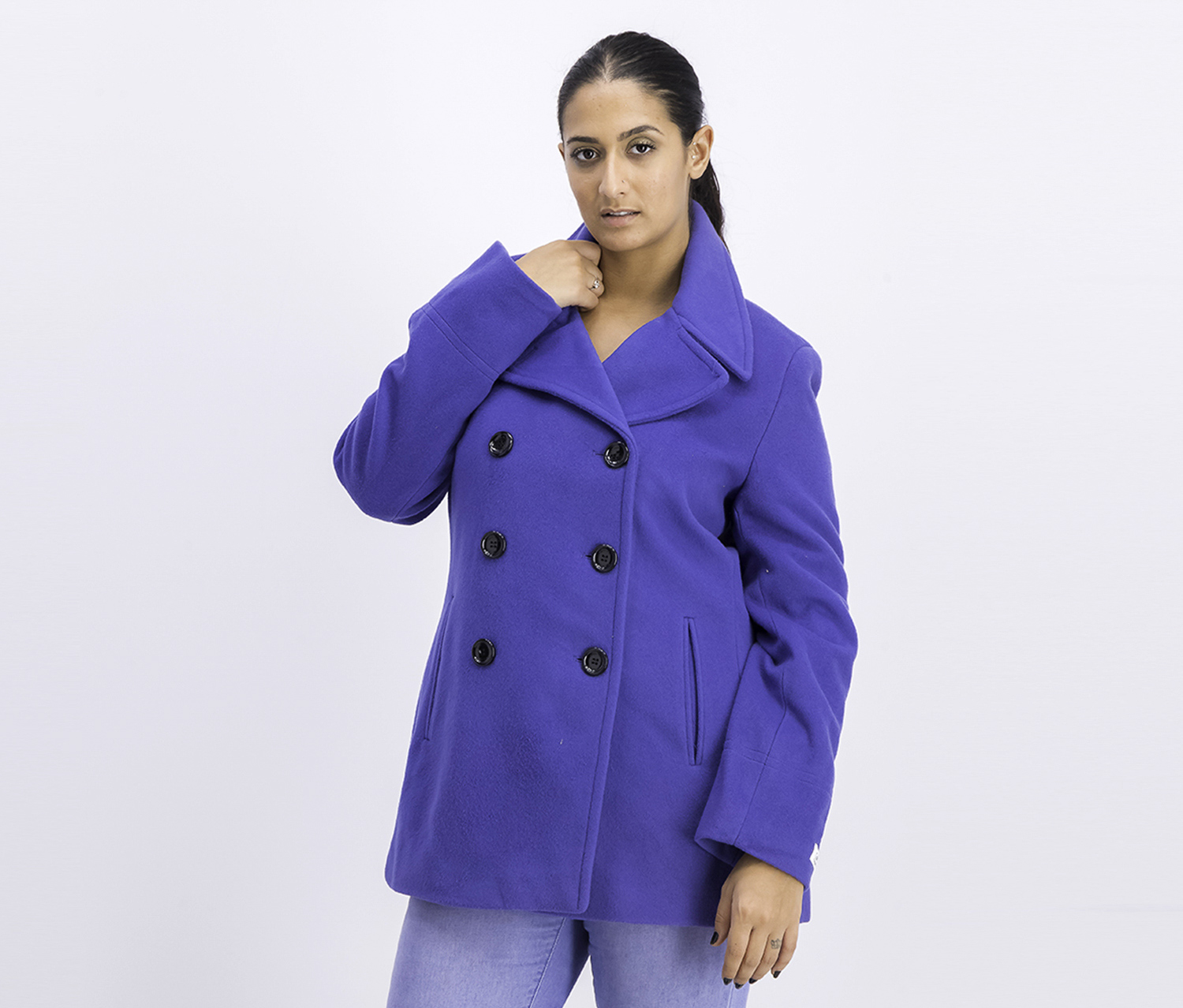 Women's Wool-Cashmere-Blend Peacoat, Blue