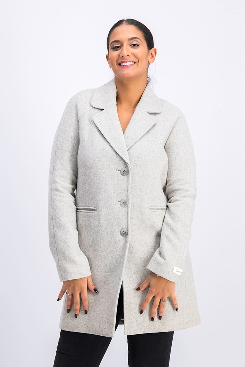 Wool-Blend Single-Breasted Walker Coat, Light Gray