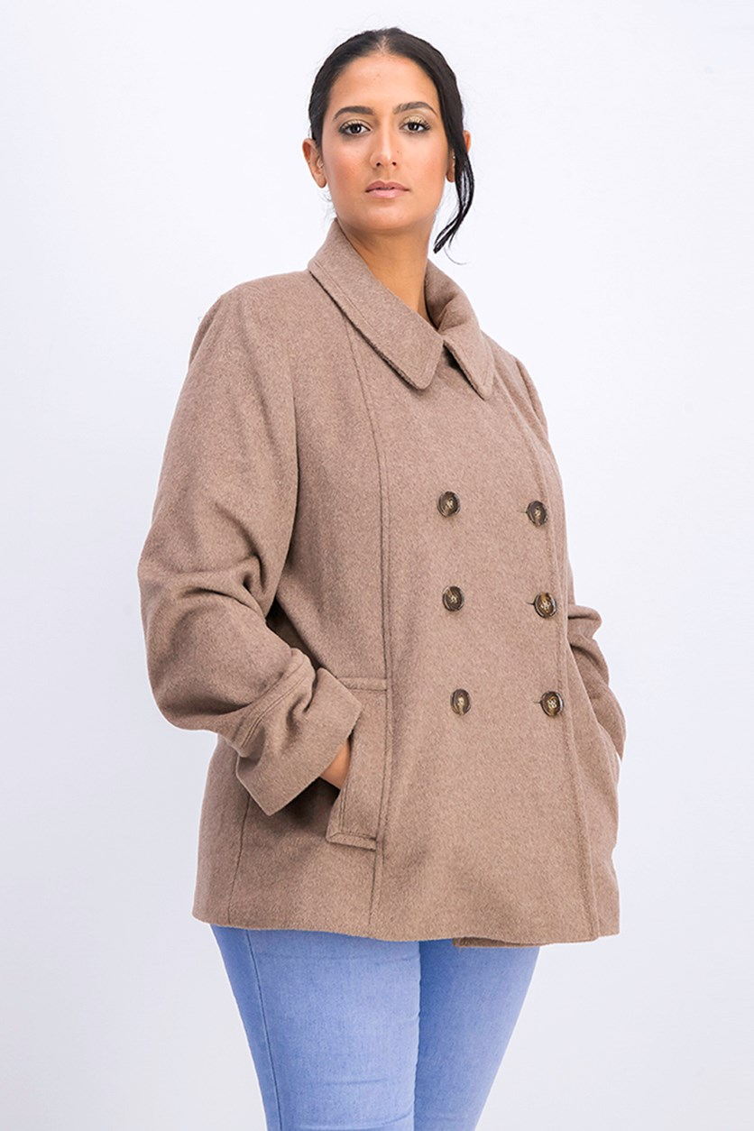 Petite Double-Breasted Pea Coat, Oatmeal