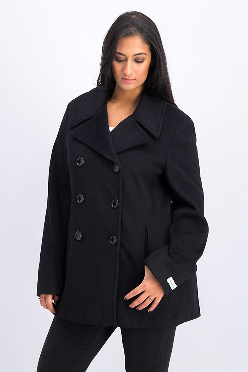 Women's Long Sleeve Faux Leather Trim Coat, Black