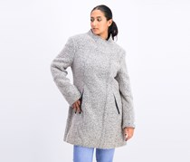 Asymmetric Faux Leather Trim Coat, Light Grey