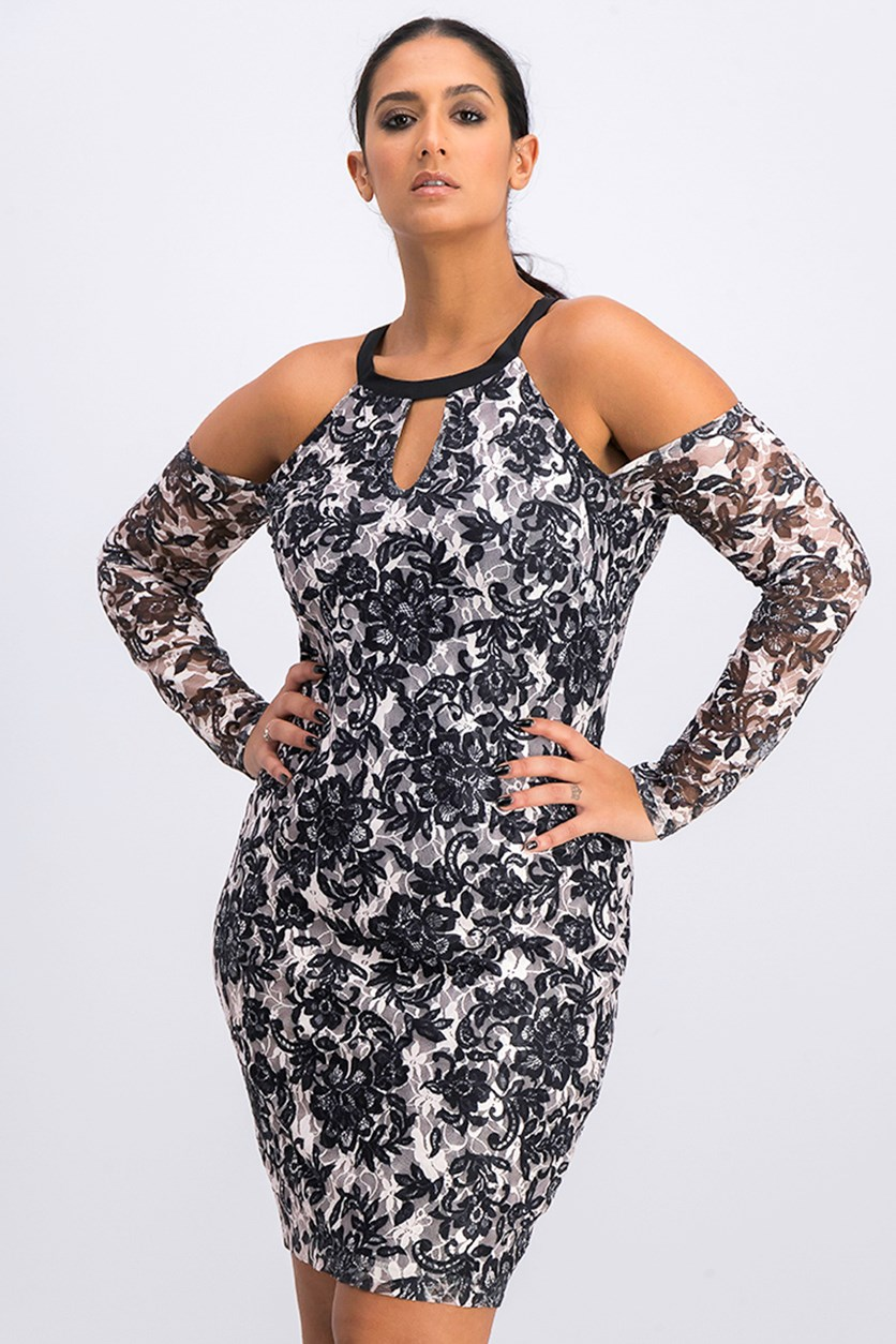 Women's Cold-Shoulder Lace Bodycon Dress, Black Combo