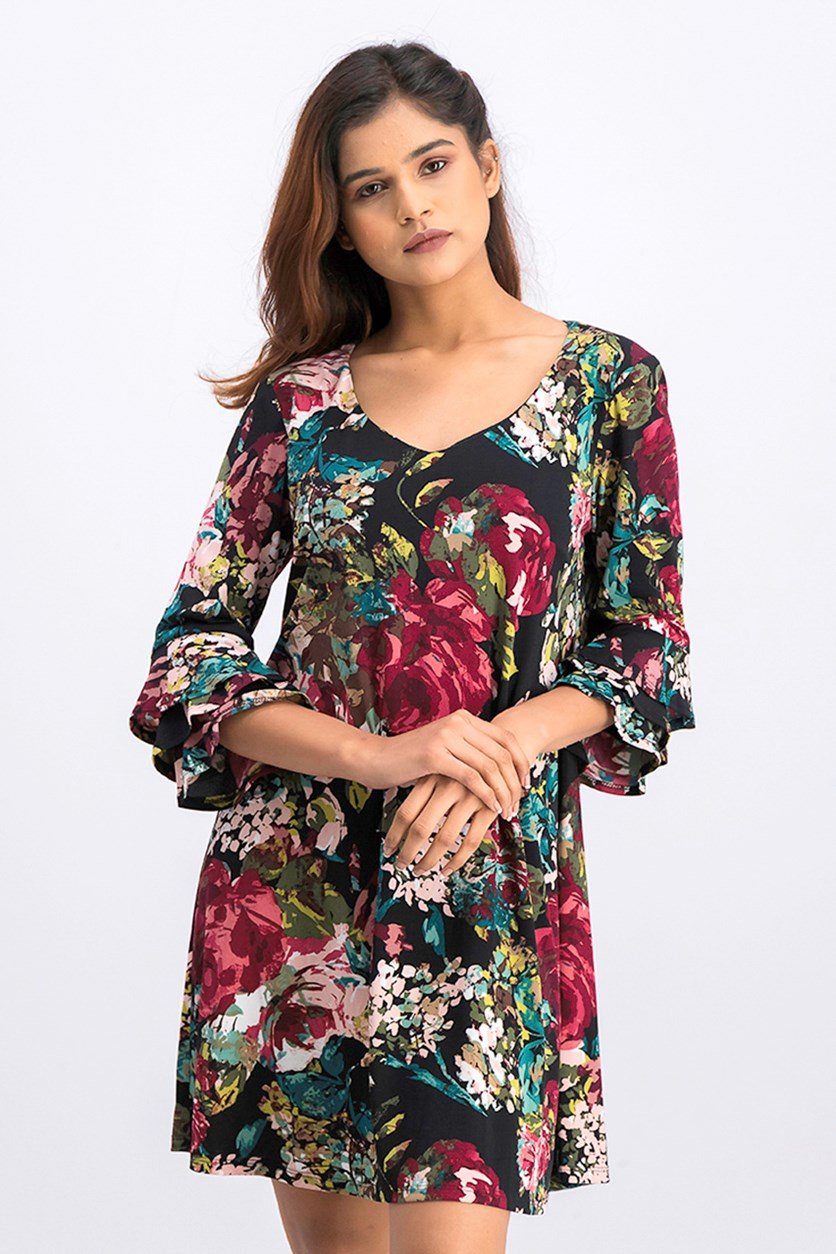 Womens Petites Floral Print Bell Sleeves Casual Dress, Black/Green/Pink Combo