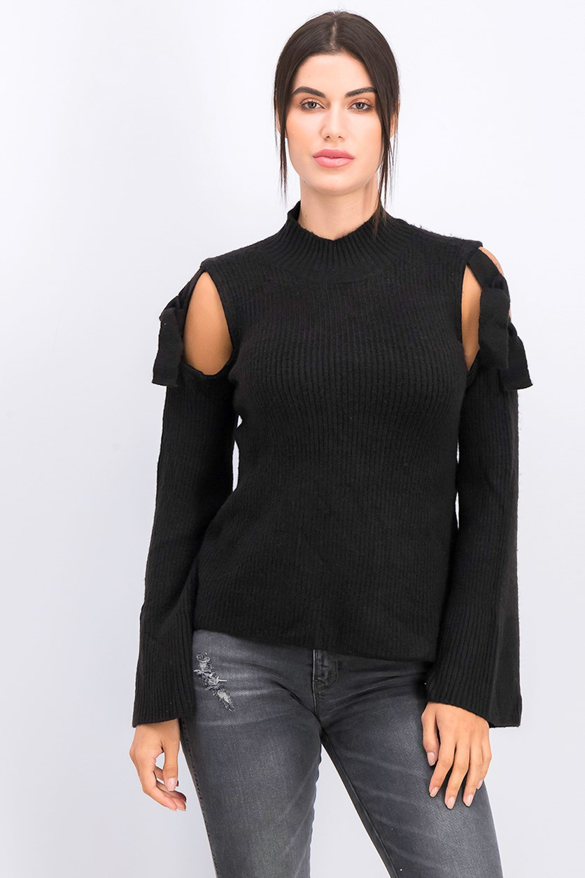 Mock-Neck Cold-Shoulder Sweater Top, Black