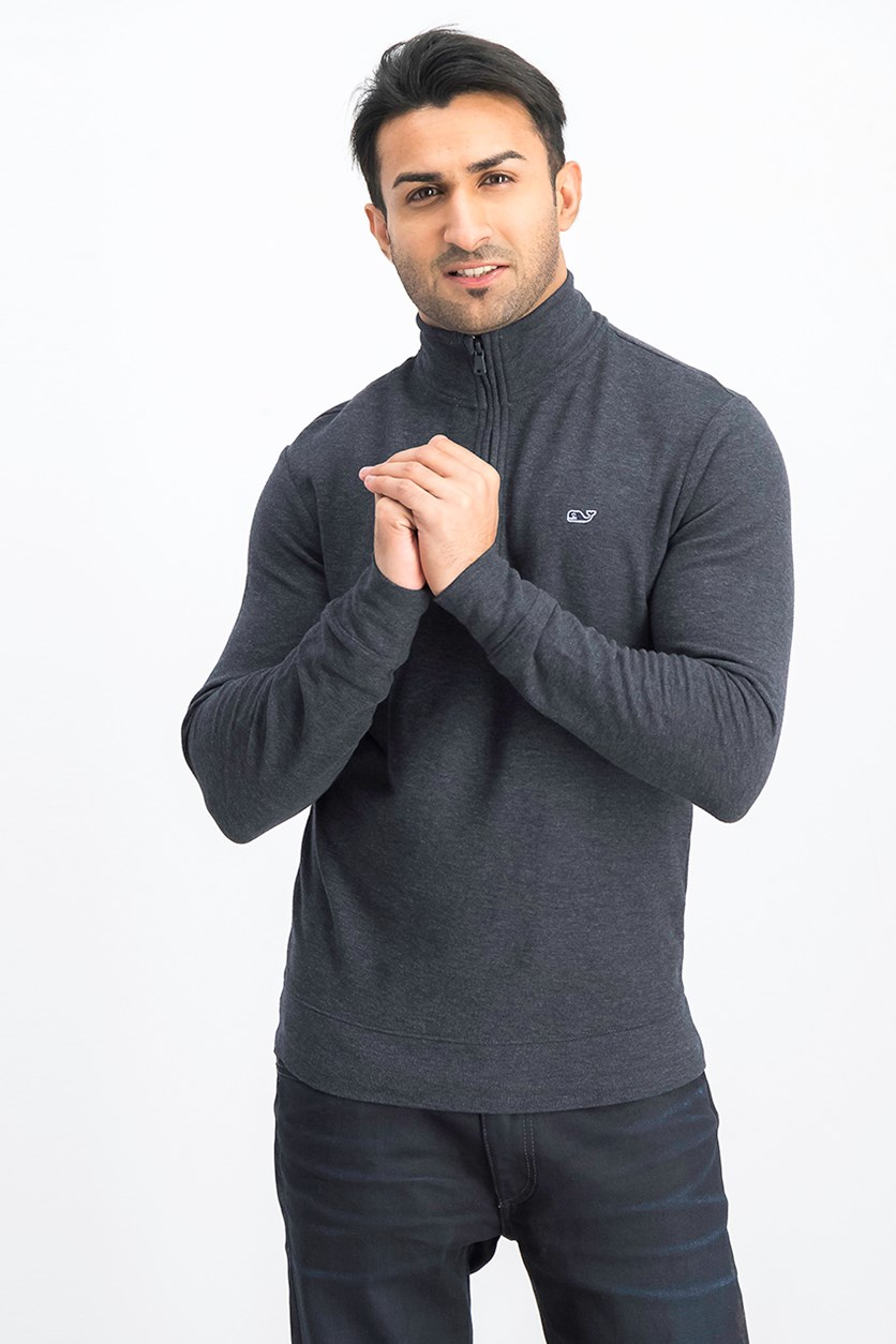 Men's Saltwater Quarter-Zip Pullover Sweater, Charcoal
