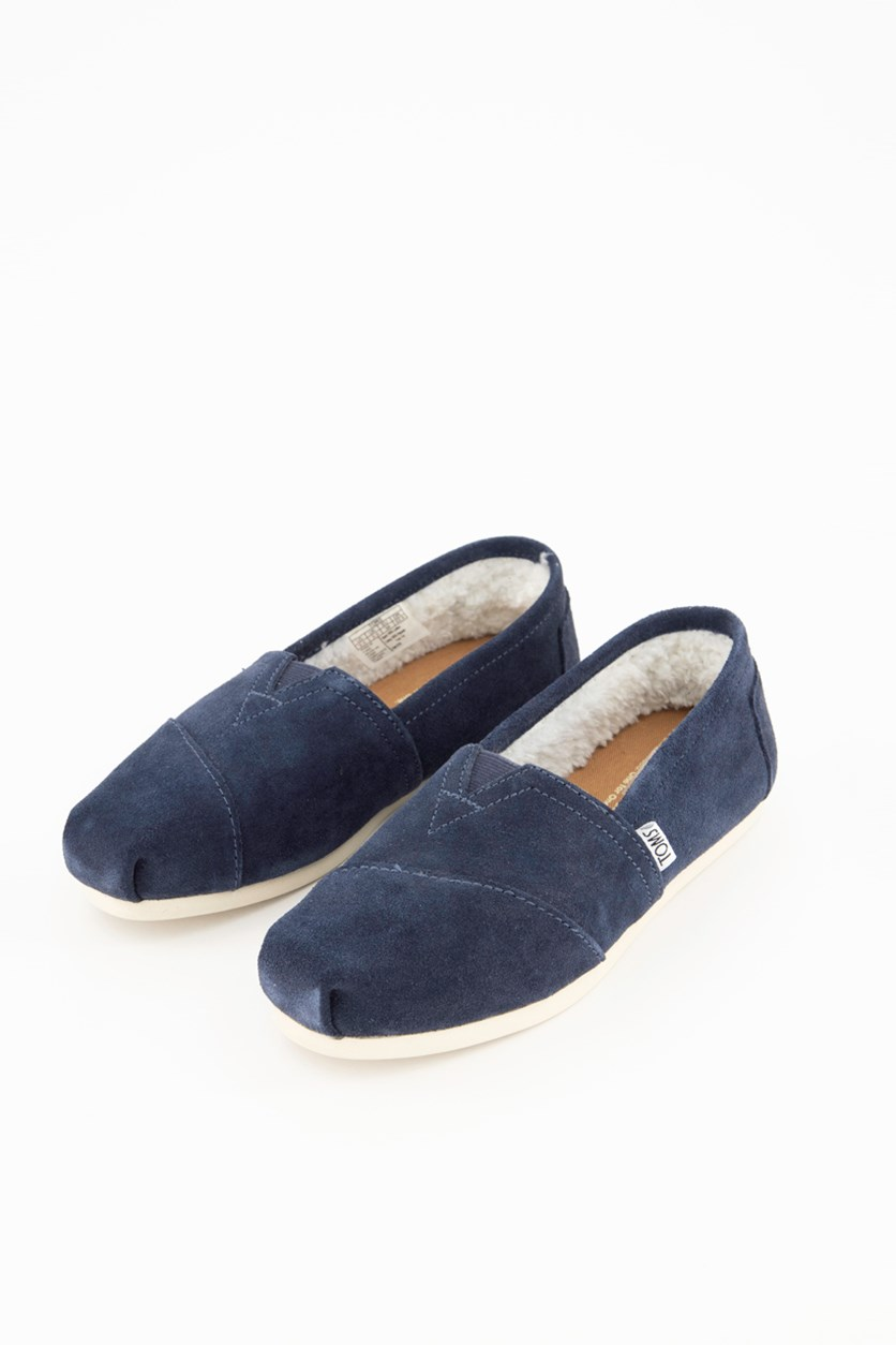 Women Classics Flat Shoes, Navy Suede Shearling