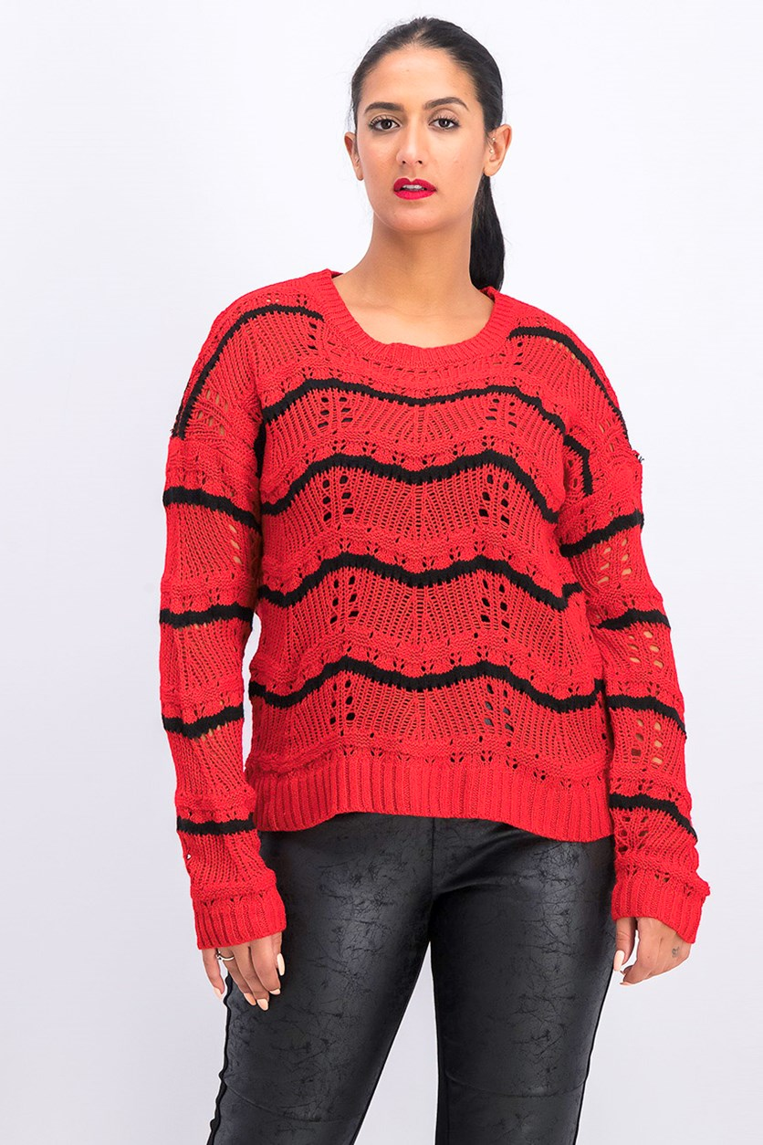 Women's Striped Sweater, Red/Black