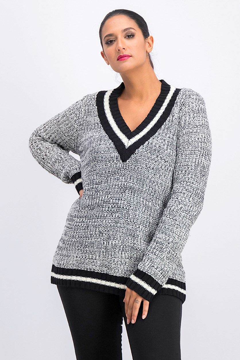 Juniors' Stripe-Trimmed Marled Sweater, Egret Marl