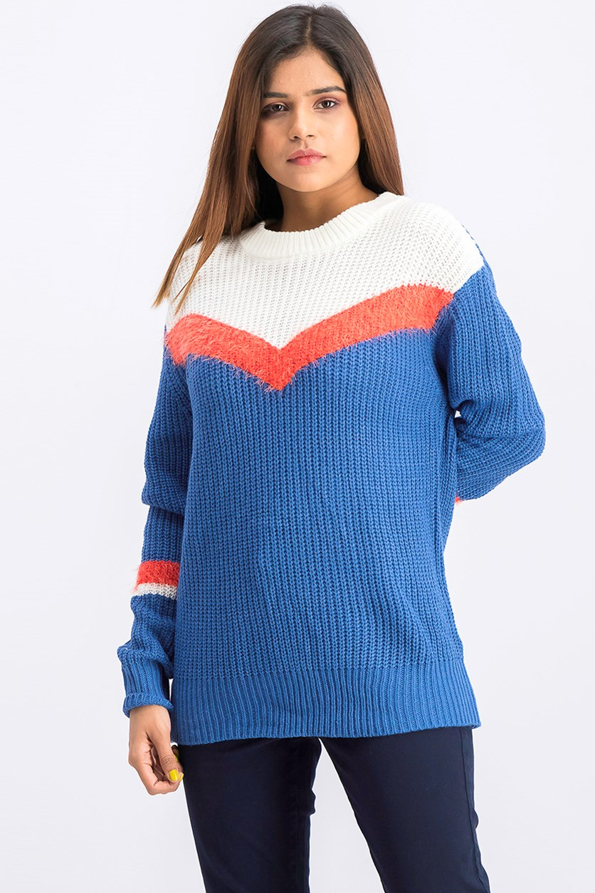 Juniors' Chevron-Stripe Sweater, Blue Combo
