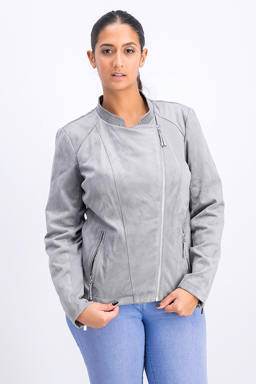 Women's Faux-Suede Moto Jacket, Grey